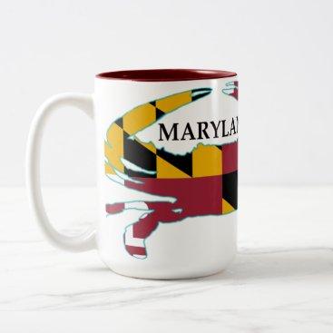 Coffee Themed Maryland Flag Crab Mug