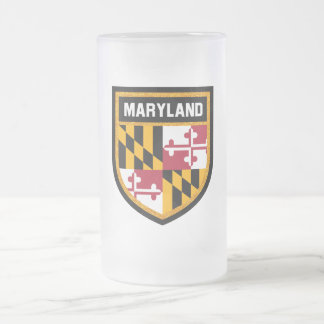 Maryland  Flag Frosted Glass Beer Mug