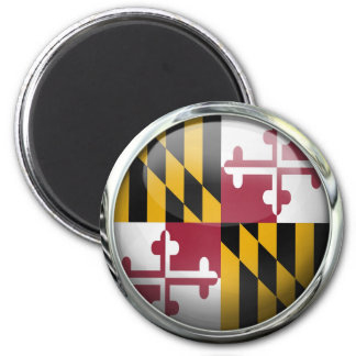 Maryland Flag Glass Ball 2 Inch Round Magnet