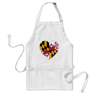 Maryland Flag Heart Adult Apron