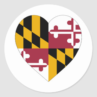 Maryland Flag Heart Classic Round Sticker
