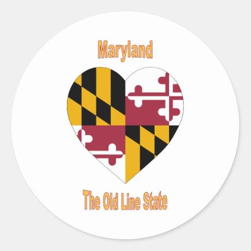 Maryland Flag Heart Classic Round Sticker
