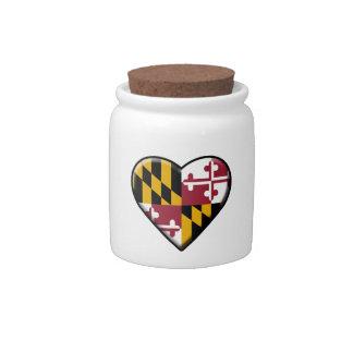Maryland Flag Heart Jar Candy Dish