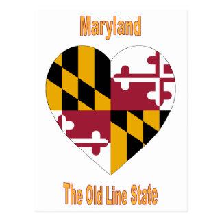 Maryland Flag Heart Postcard