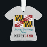 """Maryland Flag Humorous Snowflake Ornament<br><div class=""""desc"""">A humorous twist on the Maryland flag makes it holiday ready. Snowflake motif becomes part of the flag image and heralds the winter holidays. Great for proud Marylanders,  whether at home or living elsewhere. Personalize. Non-denominational.</div>"""
