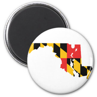Maryland Flag Map 2 Inch Round Magnet