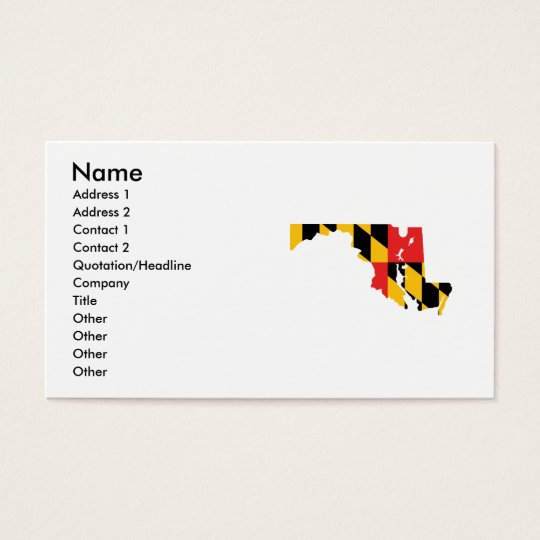 Maryland Flag Map Business Card