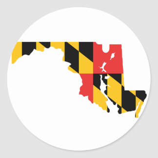 Maryland Flag Map Classic Round Sticker