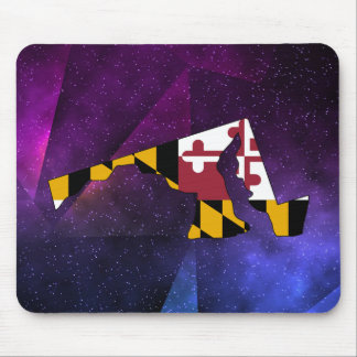 Maryland Flag Map on abstract space background Mouse Pad