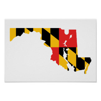 Maryland Flag Map Poster