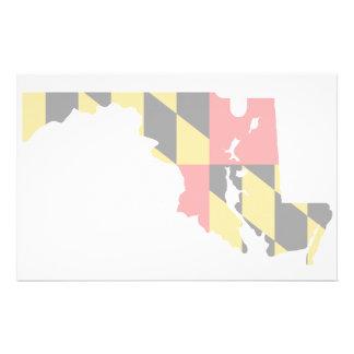 Maryland Flag Map Custom Stationery