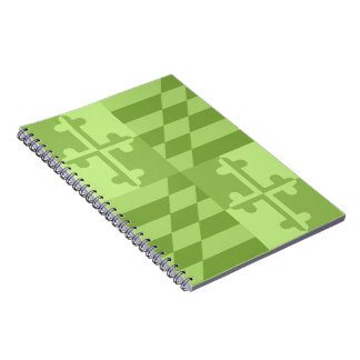 Maryland Flag Monochromatic note book - lime green
