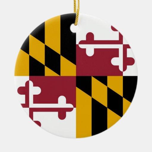 Maryland Flag Double-Sided Ceramic Round Christmas Ornament