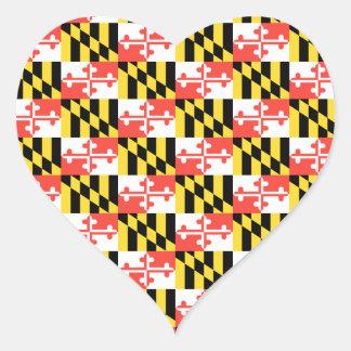 MARYLAND Flag Pattern Heart Sticker