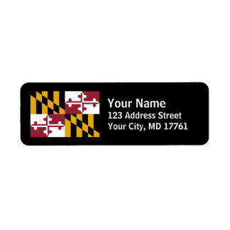 Maryland Flag Return Address Labels Black
