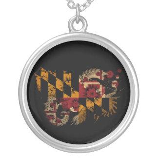 Maryland Flag Round Pendant Necklace