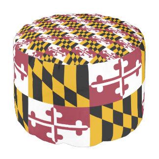 Maryland Flag Round Pouf