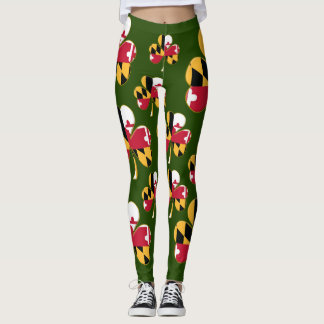 Maryland Flag Shamrock Leggings