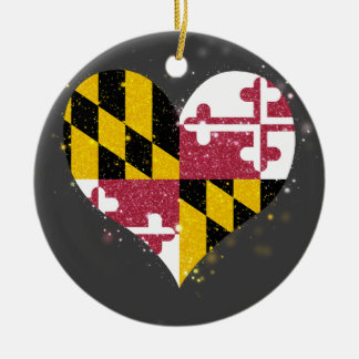 Maryland Flag Shining Unique Double-Sided Ceramic Round Christmas Ornament