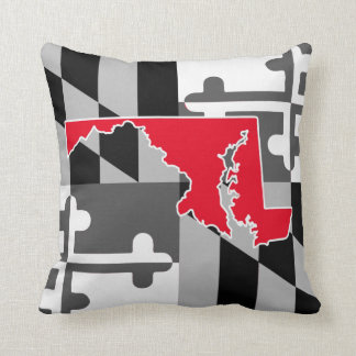 Maryland Flag/State greyscale pillow - red