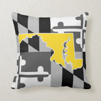 Maryland Flag/State greyscale pillow - yellow