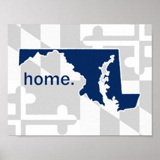 Maryland Flag/State pop of color - navy blue Poster