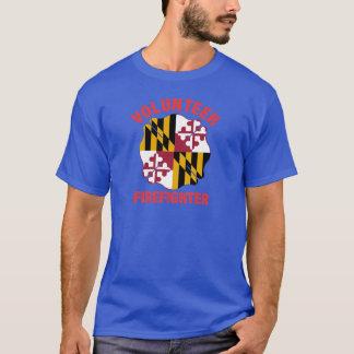 Maryland Flag Volunteer Firefighter Cross T-Shirt