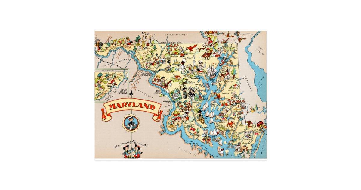 Maryland Funny Vintage Map Postcard Zazzlecom - Maryland map funny