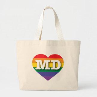 Maryland Gay Pride Rainbow Heart - Big Love Large Tote Bag