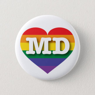 Maryland Gay Pride Rainbow Heart - Big Love Pinback Button