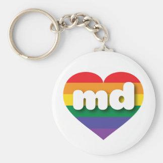 Maryland gay pride rainbow heart - mini love keychain