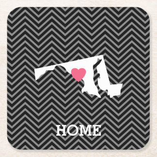 Maryland Home State Love with Custom Heart Square Paper Coaster