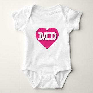 Maryland Hot Pink Heart - Big Love Baby Bodysuit