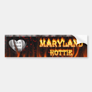 Maryland Hottie fire and red marble heart. Bumper Sticker