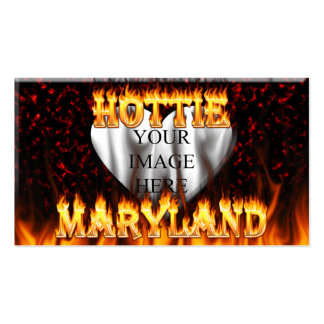 Maryland Hottie fire and red marble heart. Double-Sided Standard Business Cards (Pack Of 100)