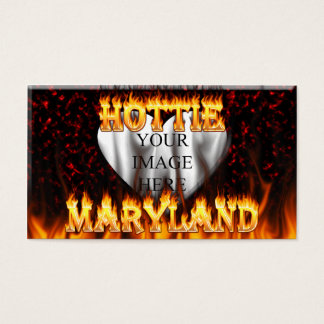 Maryland Hottie fire and red marble heart. Business Card