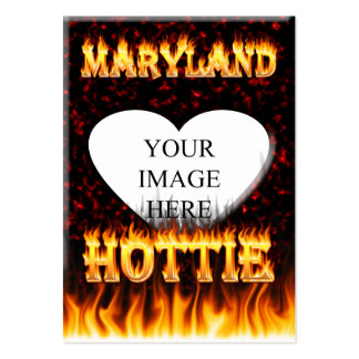 Maryland Hottie fire and red marble heart. Large Business Cards (Pack Of 100)