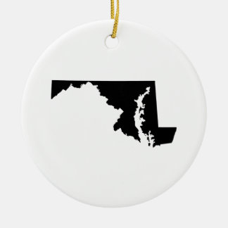 Maryland in Black and White Double-Sided Ceramic Round Christmas Ornament