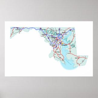 Maryland Interstate Map Print