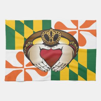 Maryland Irish Claddagh Flag Hand Towel