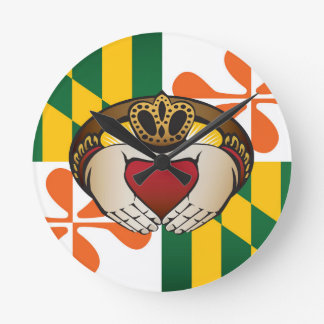 Maryland Irish Claddagh Flag Round Clock