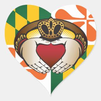 Maryland Irish Claddagh Flag Heart Sticker