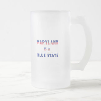 Maryland is a Blue State Frosted Glass Beer Mug