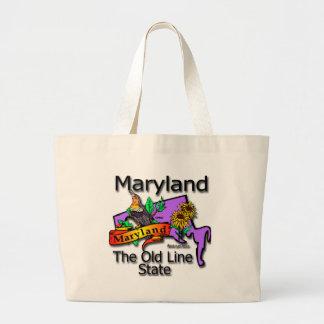 Maryland la vieja línea de estado pájaro bolsas de mano