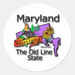 Maryland la vieja línea pájaro de estado etiqueta redonda