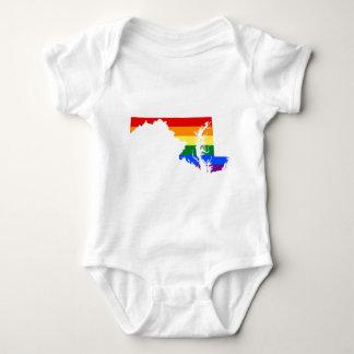 Maryland LGBT Flag Map Baby Bodysuit