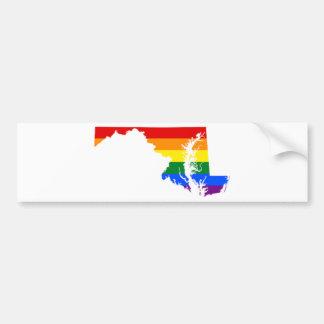 Maryland LGBT Flag Map Bumper Sticker