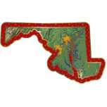 "Maryland Map Christmas Ornament Cut Out<br><div class=""desc"">This acrylic ornament shaped from a relief map of Maryland surrounded by festive trim will add novel Maryand flair to your seasonal decorations. Also available as a pin,  magnet or keychain. 
