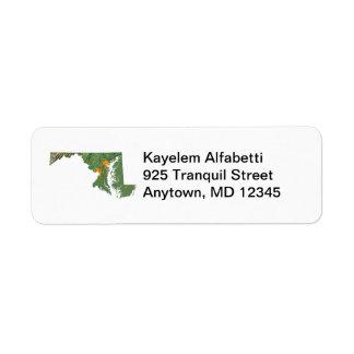 Maryland Map Return Address Label