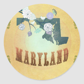 Maryland Map With Lovely Birds Classic Round Sticker